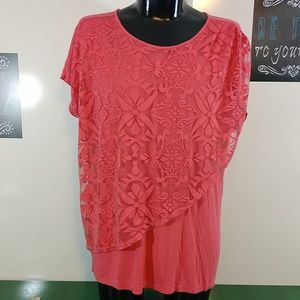 Coral Knit Blouse with Partial Lace Overlay